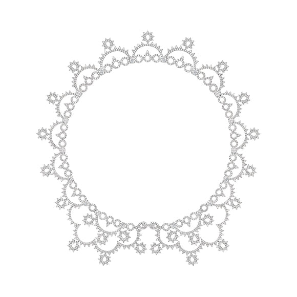 Seven Season Wedding Court Lace Silver Necklace HEFANG Jewelry