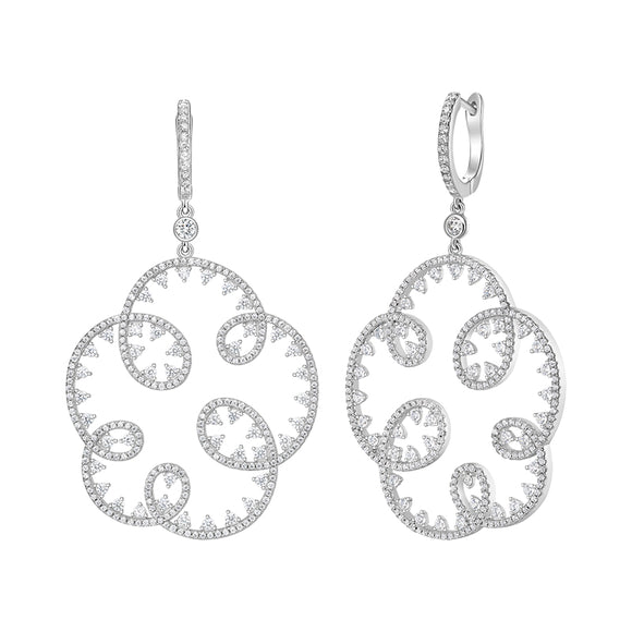 Seven Season Wedding Embroidery Silver Openwork Drop Earrings HEFANG Jewelry