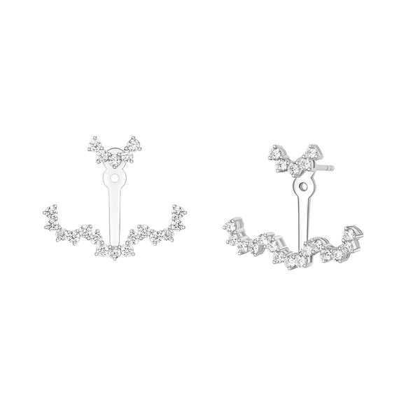 Seven Season Wedding Lace Silver Detachable Drop Earrings HEFANG Jewelry