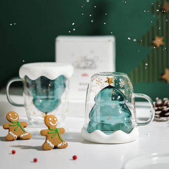 Starbucks Christmas Tree Double Layer Glass Mug-Seven Season