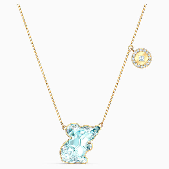 Swarovski Chinese Zodiac Aqua Rat Gold-tone Plated Pendant Necklace -Seven Season