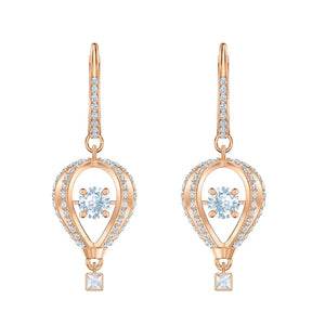 Swarovski Into the Sky White Rose-Gold Tone Plated Drop Pierced Earrings-Seven Season