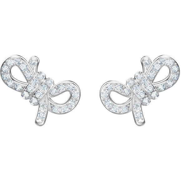 Swarovski Lifelong Bow White Rhodium Plating Pierced Earrings -Seven Season