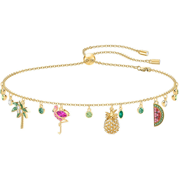 Swarovski Lime Tropical Summer Multi-Colored Gold Plating Charms Necklace-Seven Season
