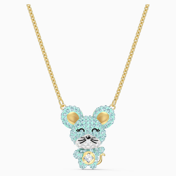 Swarovski Little Aqua Rat Mixed Metal Finish Pendant Necklace -Seven Season