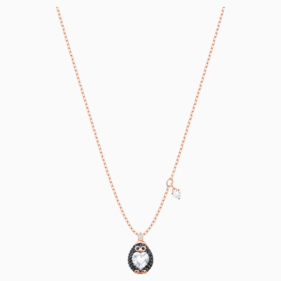 Swarovski Little Penguin Multi-Colored Rose-Gold Tone Plated Pendant Necklace -Seven Season