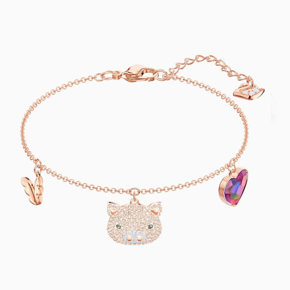 Swarovski Little Pig Multi-Colored Rose Gold Plating Bracelet -Seven Season