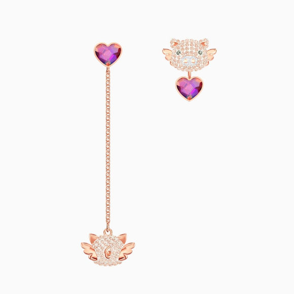 Swarovski Little Pig Multi-Colored Rose Gold Plating Pierced Earrings -Seven Season
