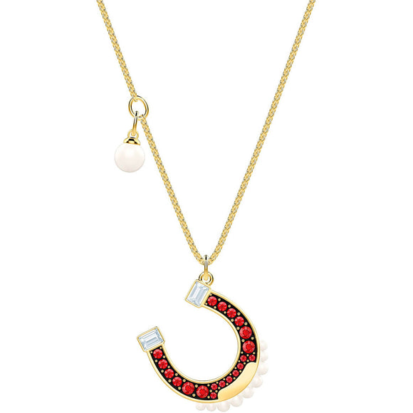 Swarovski Lucky Goddess Horseshoe Multi-Colored Gold Plating Pendant Necklace-Seven Season