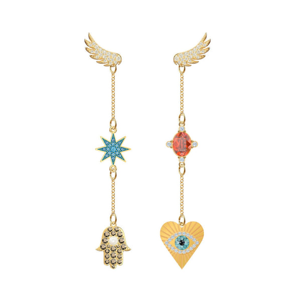 Swarovski Lucky Goddess Lucky Talisman Symbols Multi-Colored Gold Plating Pierced Earrings-Seven Season