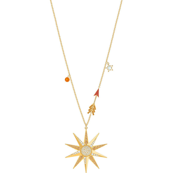 Swarovski Lucky Goddess Star Multi-Colored Gold Plating Pendant Necklace-Seven Season