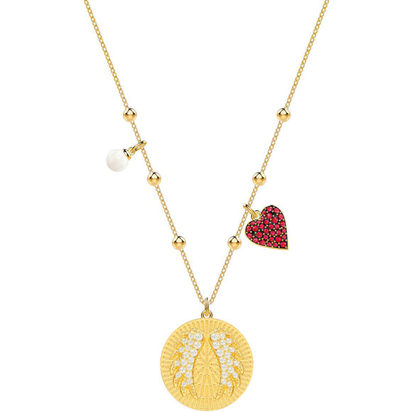 Swarovski Lucky Goddess Wings Multi-Colored Gold Plating Pendant Necklace-Seven Season