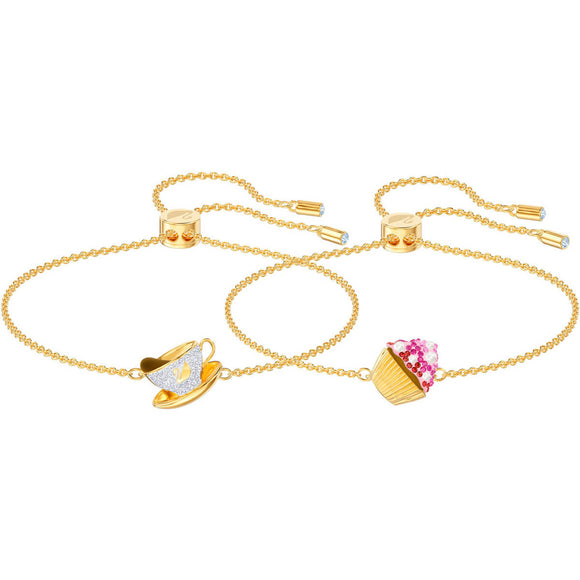 Swarovski Nicest Cupcake and Tea Multi-Colored Gold Plating Bracelet Set-Seven Season