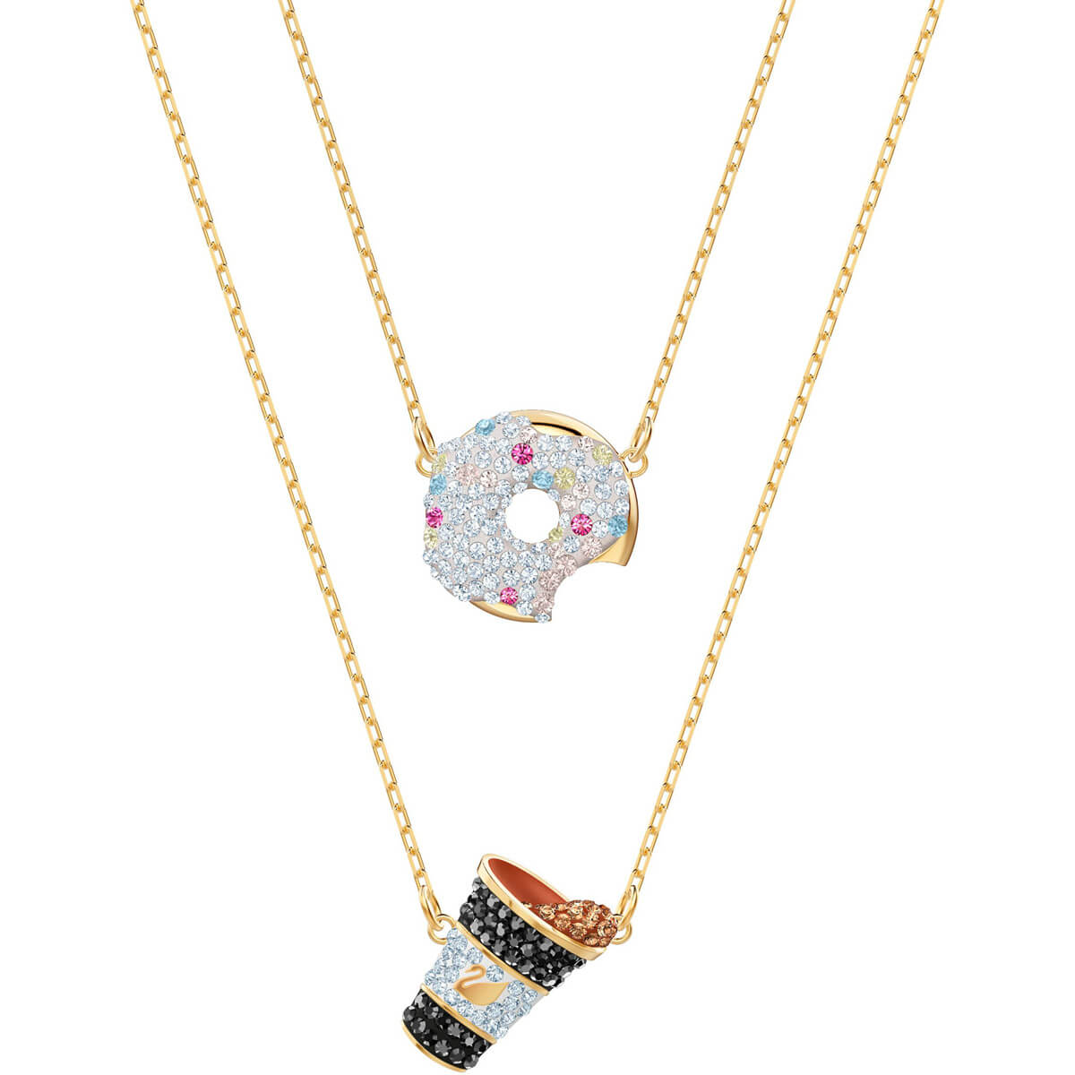 651c2810f8 Nicest Donut and Coffee Multi-Colored Gold Plating Necklace Set