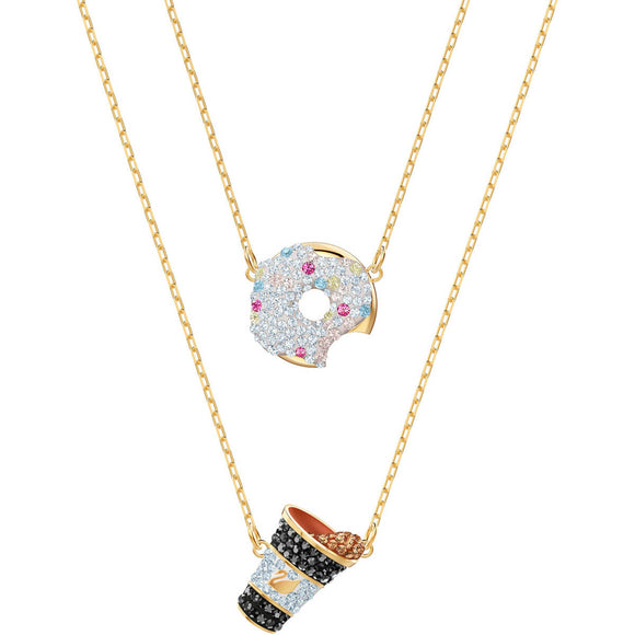 Swarovski Nicest Donut and Coffee Multi-Colored Gold Plating Necklace Set-Seven Season
