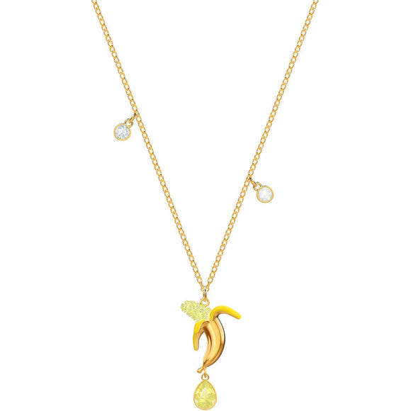 Swarovski No Regrets Banana Multi-Colored Gold Plating Pendant Necklace-Seven Season