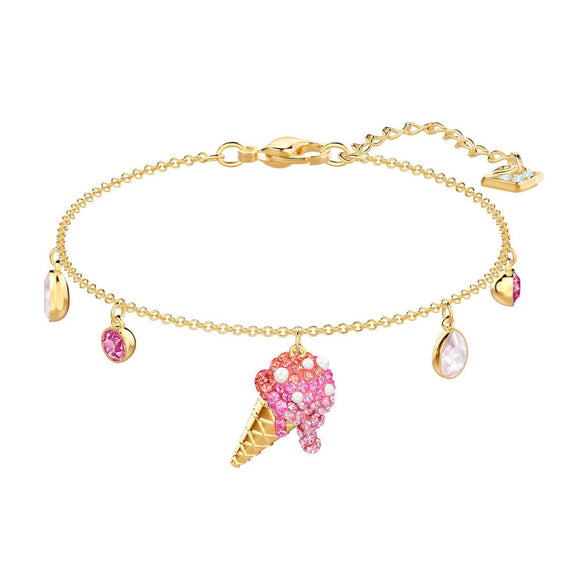 Swarovski No Regrets Ice Cream Cone Multi-Colored Gold Plating Chain Bracelet-Seven Season