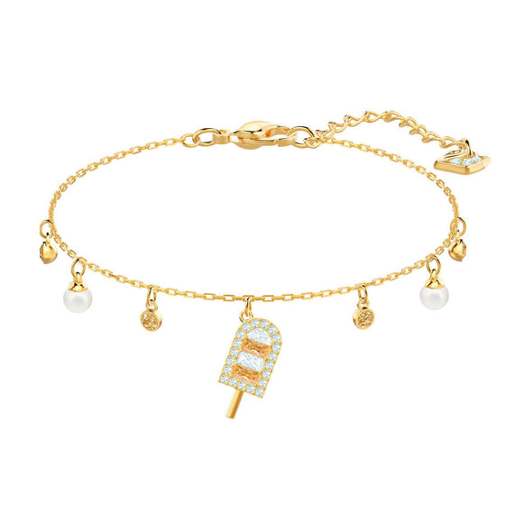 Swarovski No Regrets Ice Cream Multi-Colored Gold Plating Chain Bracelet-Seven Season