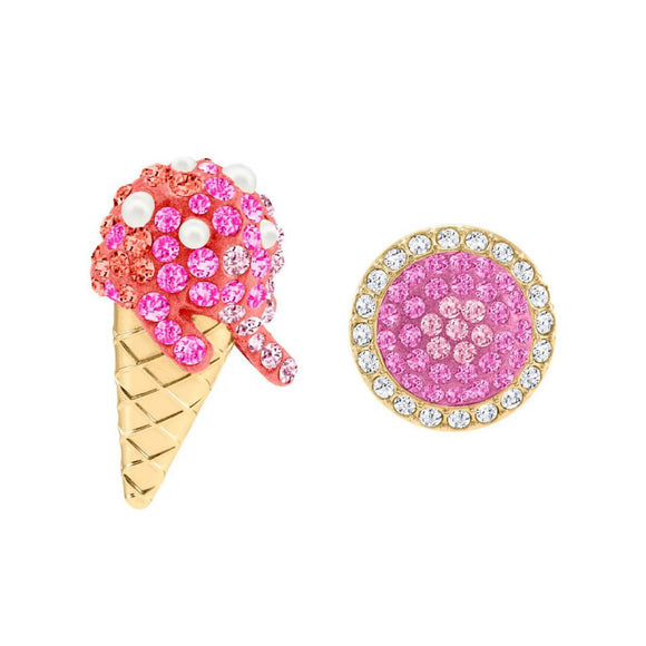 Swarovski No Regrets Ice Cream Multi-Colored Gold Plating Pierced Earrings-Seven Season