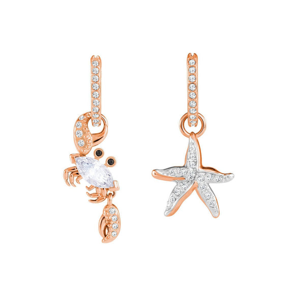Swarovski Ocean Crab White Rose Gold Plating Pierced Earrings-Seven Season
