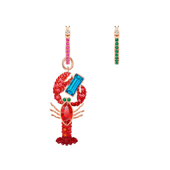 Swarovski Ocean Lobster Multi-Colored Rose Gold Plating Pierced Earrings-Seven Season