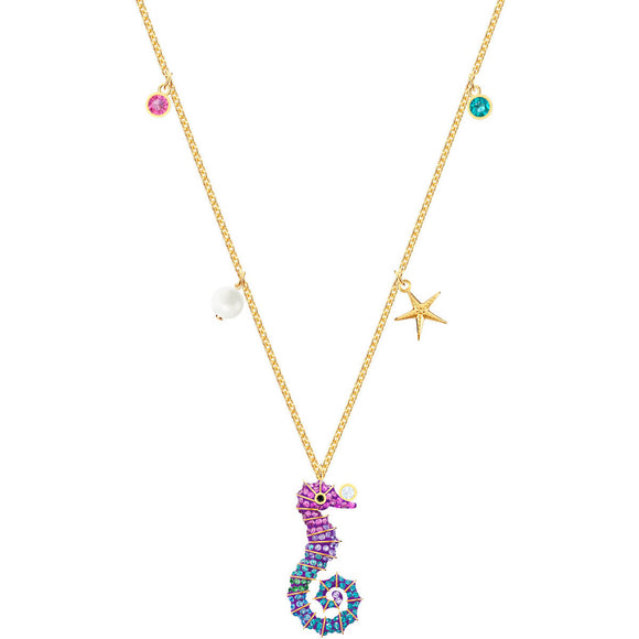 Swarovski Ocean Seahorse Multi-Colored Gold Plating Pendant Necklace -Seven Season