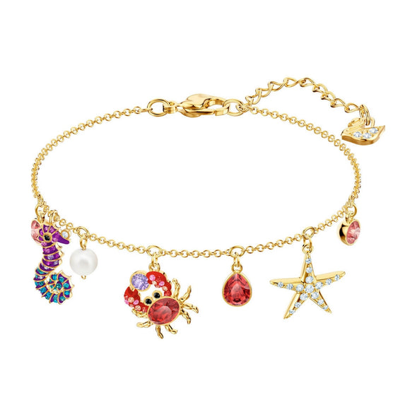 Swarovski Ocean Sealife Multi-Colored Gold Plating Chain Bracelet-Seven Season