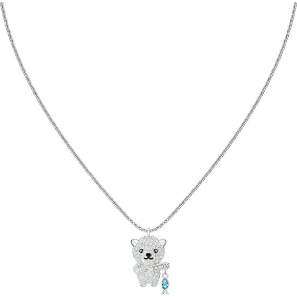 Swarovski Polar Bear Multi-Colored Rhodium Plated Pendant Necklace-Seven Season