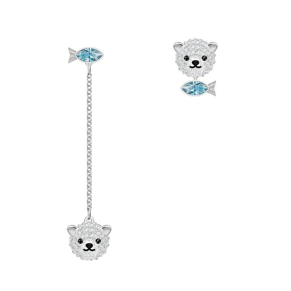 Swarovski Polar Bear Multi-Colored Rhodium Plated Pierced Earrings-Seven Season
