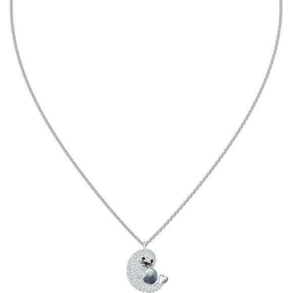 Swarovski Polar Seal Multi-Colored Rhodium Plated Pendant Necklace-Seven Season