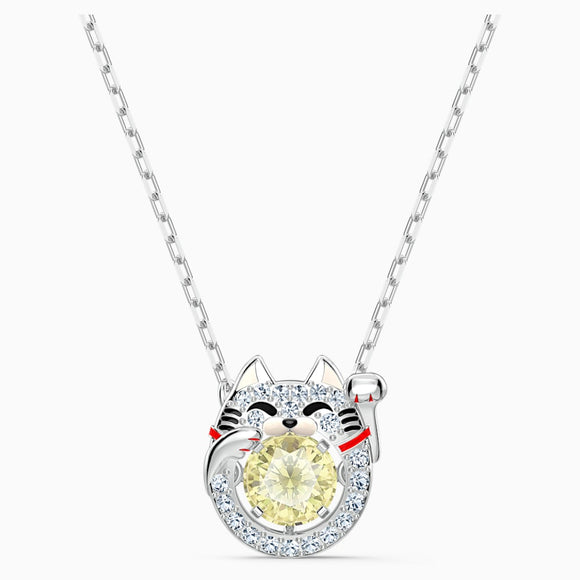 Swarovski Sparkling Dance Light Multi-Colored Rhodium Plated Cat Necklace -Seven Season