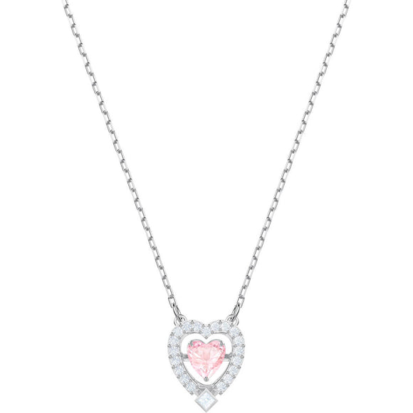 Swarovski Sparkling Dance Pink Rhodium Plating Heart Necklace -Seven Season