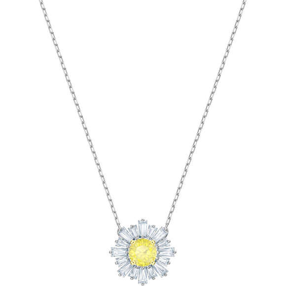 Swarovski Sunshine Medium Yellow Rhodium Plating Pendant Necklace-Seven Season