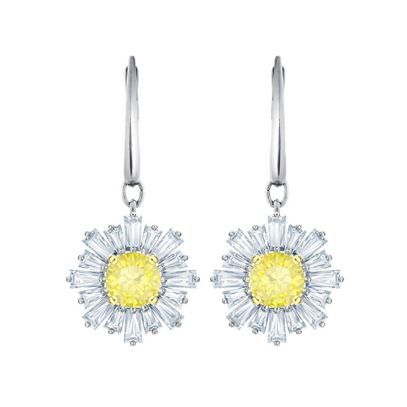 Swarovski Sunshine White Rhodium Pierced Drop Earrings-Seven Season