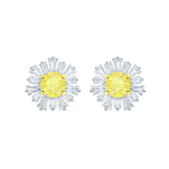 Swarovski Sunshine White Rhodium Pierced Earrings-Seven Season