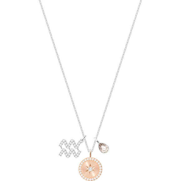 Swarovski Zodiac Aquarius Gray Rhodium Plated Pendant Necklace-Seven Season