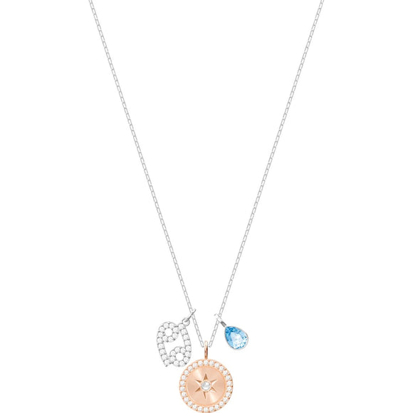 Swarovski Zodiac Cancer Aqua Rhodium Plated Pendant Necklace-Seven Season