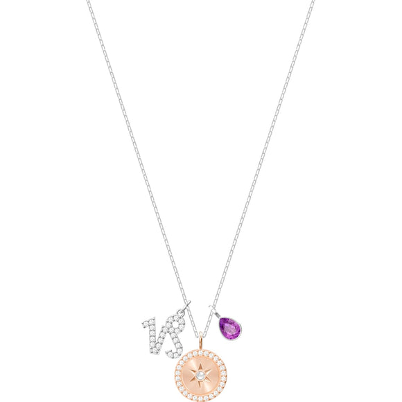 Swarovski Zodiac Capricorn Purple Rhodium Plated Pendant Necklace-Seven Season