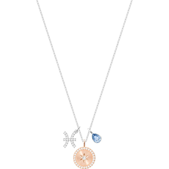 Swarovski Zodiac Pisces Blue Rhodium Plated Pendant Necklace-Seven Season