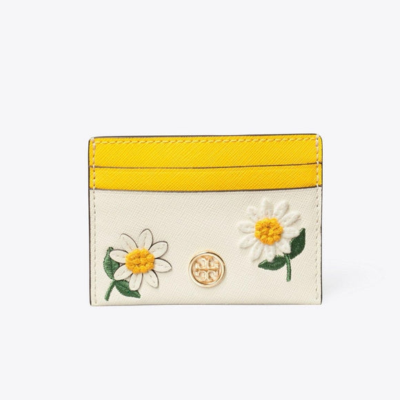 Tory Burch Robinson Floral Embroidered Card Case-Seven Season