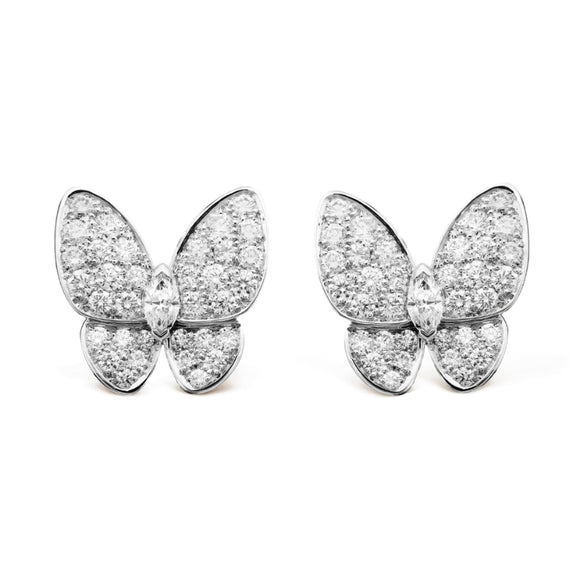 Van Cleef & Arpels Diamond Accent Two Butterfly Stud Earrings-Seven Season
