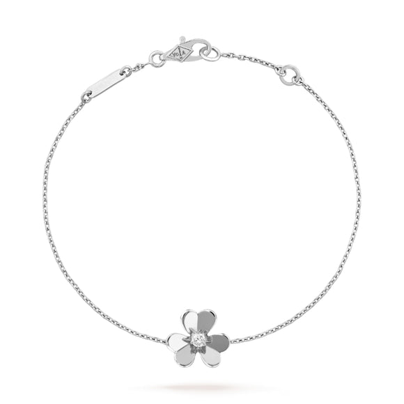 Frivole Clover White Gold-Plated Mirror-Polished Chain Bracelet