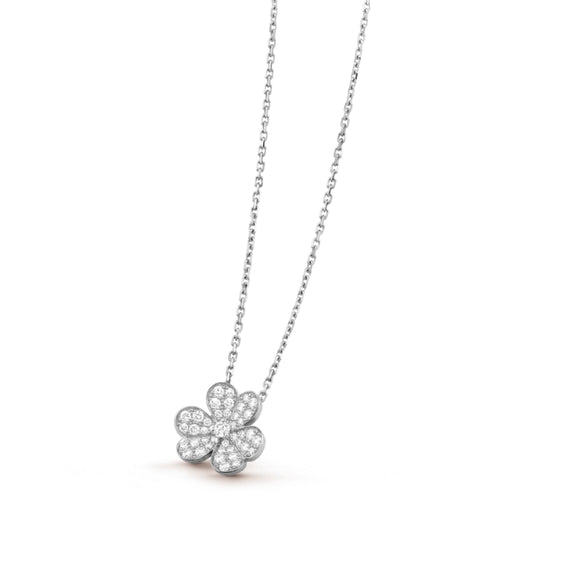 Van Cleef & Arpels Frivole Clover White Gold-Plated Pendant Necklace-Seven Season