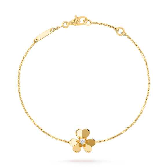 Van Cleef & Arpels Frivole Clover Yellow Gold-Plated Mirror-Polished Chain Bracelet-Seven Season