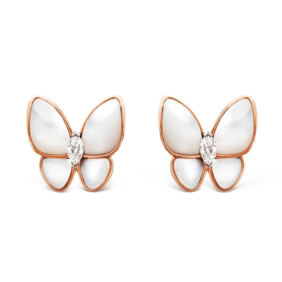Van Cleef & Arpels Two Butterfly Mother-of-Pearl Stud Earrings-Seven Season