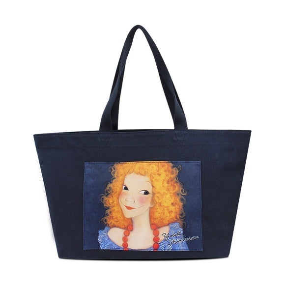 Youk Shim Won Sannah Medium Navy Blue Tote Bag-Seven Season