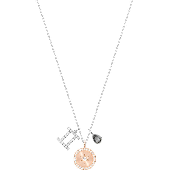 Zodiac Gemini Gray Rhodium Plated Pendant Necklace