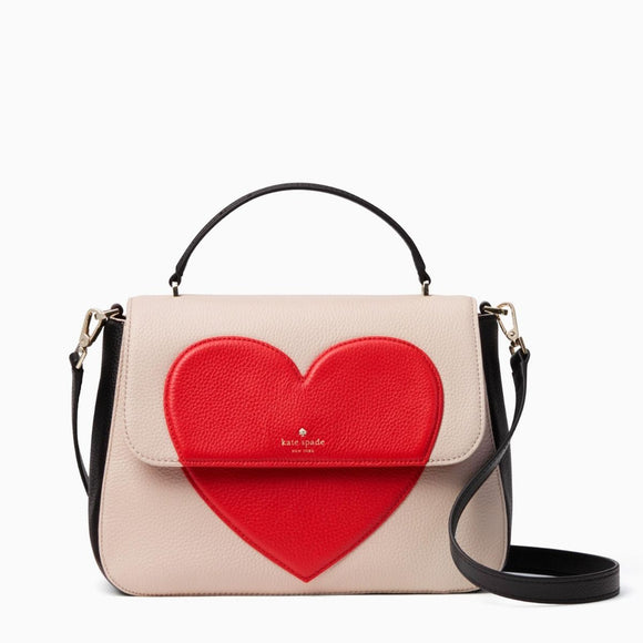 kate spade new york Be Mine Alexya Heart White Satchel Bag-Seven Season