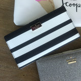 kate spade new york Hyde Lane Black and White Stripe Stacy Wallet-Seven Season