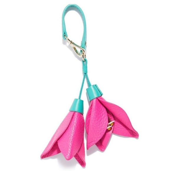 Leather Floral Bag Charm
